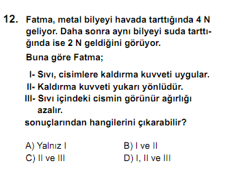 SBS Ortak Sınav 12. Soru